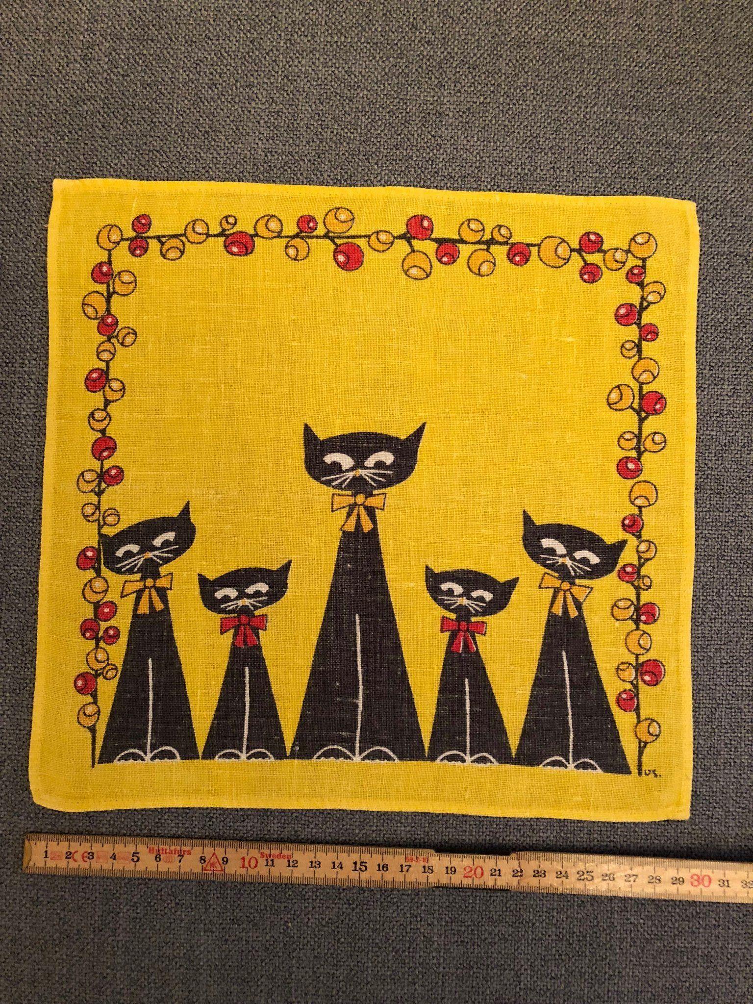 RETRO Tryckt duk med katter, 1960 tal (340217883) ᐈ Köp på