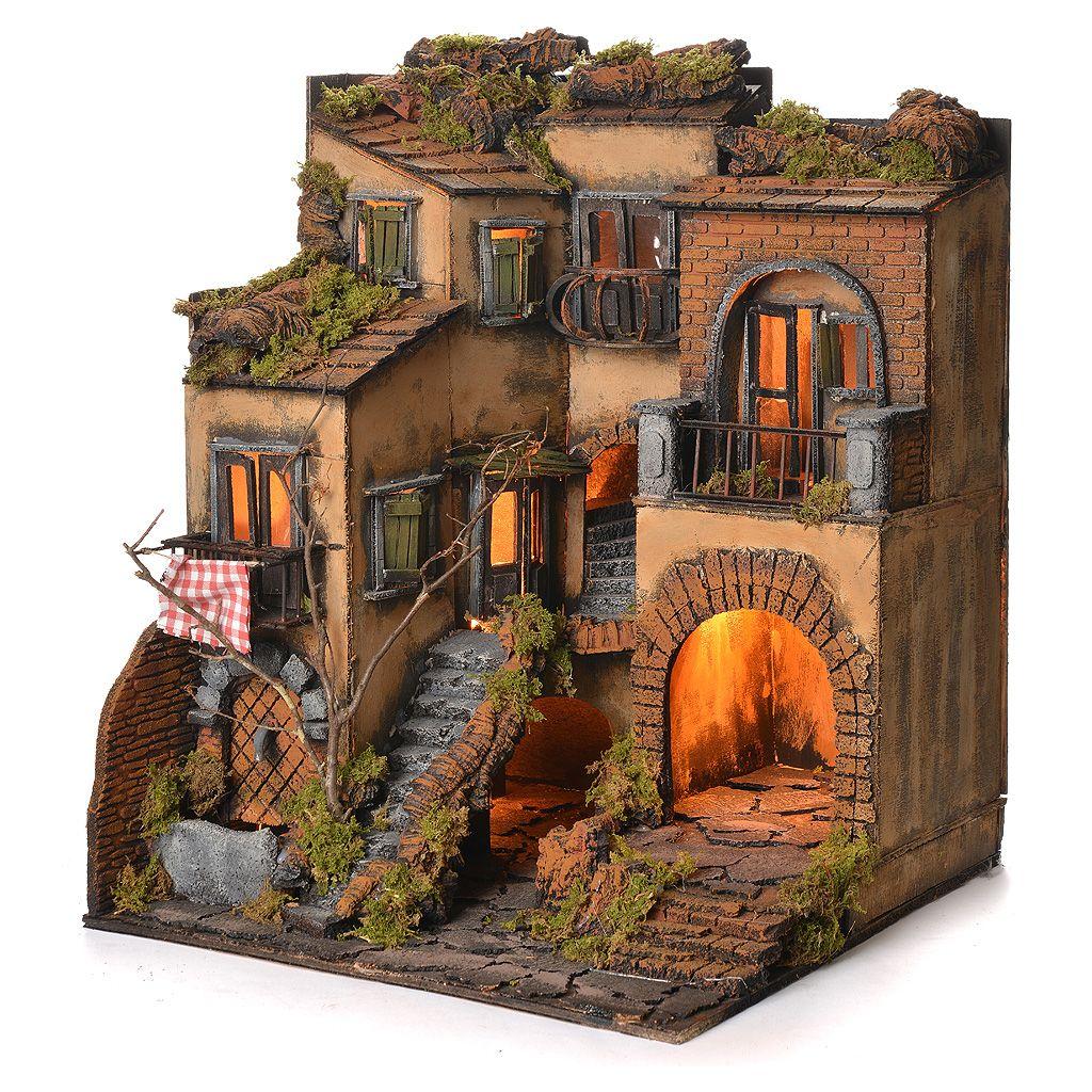 Borgo presepe napoletano stile 700 e fontana cm 50x40x44 for Case fatte da architetti