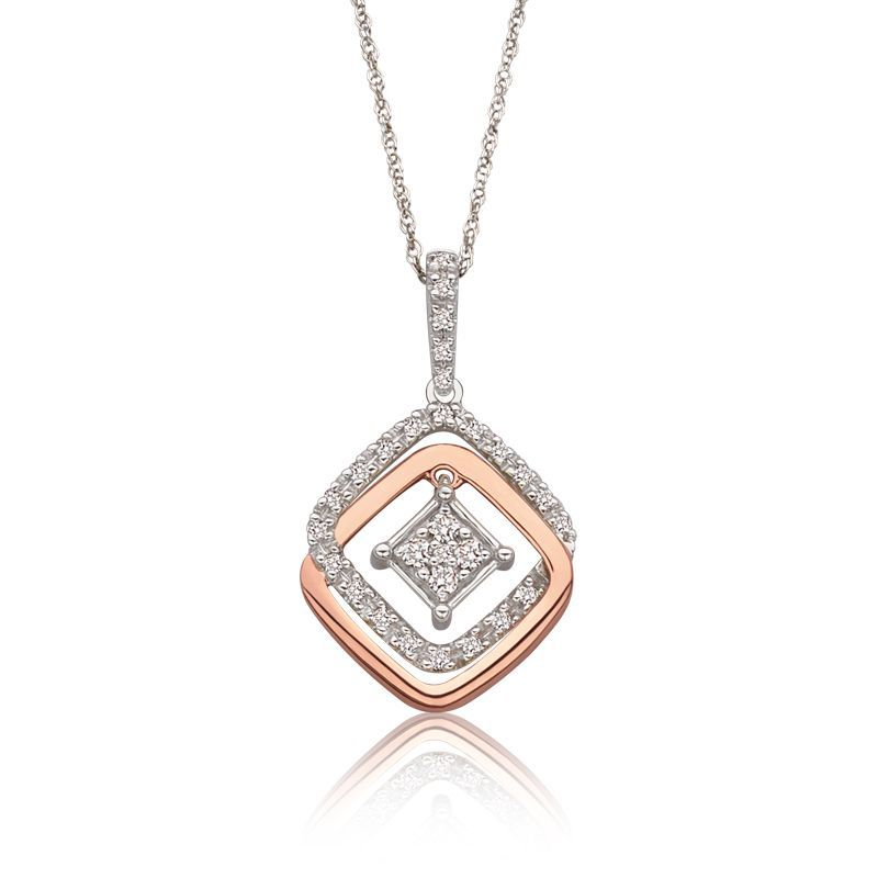 JK Crown Geometric Diamond Pendant in 10k White Rose Gold
