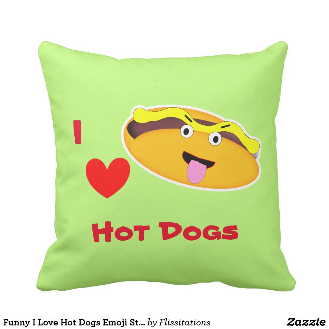 Funny i love hot dogs emoji style throw pillow emoji pillows