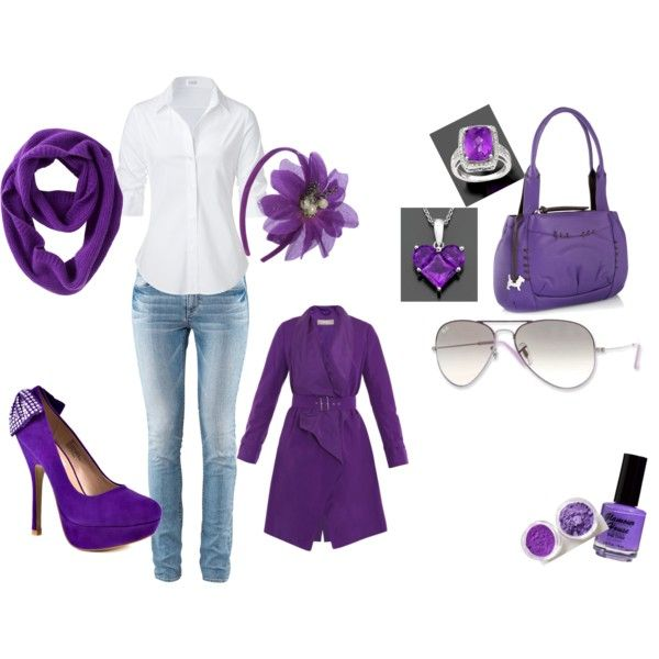 All purple, created by #jacky-guerra-wright on #polyvore. #fashion #style STEFFEN SCHRAUT #MaxMara