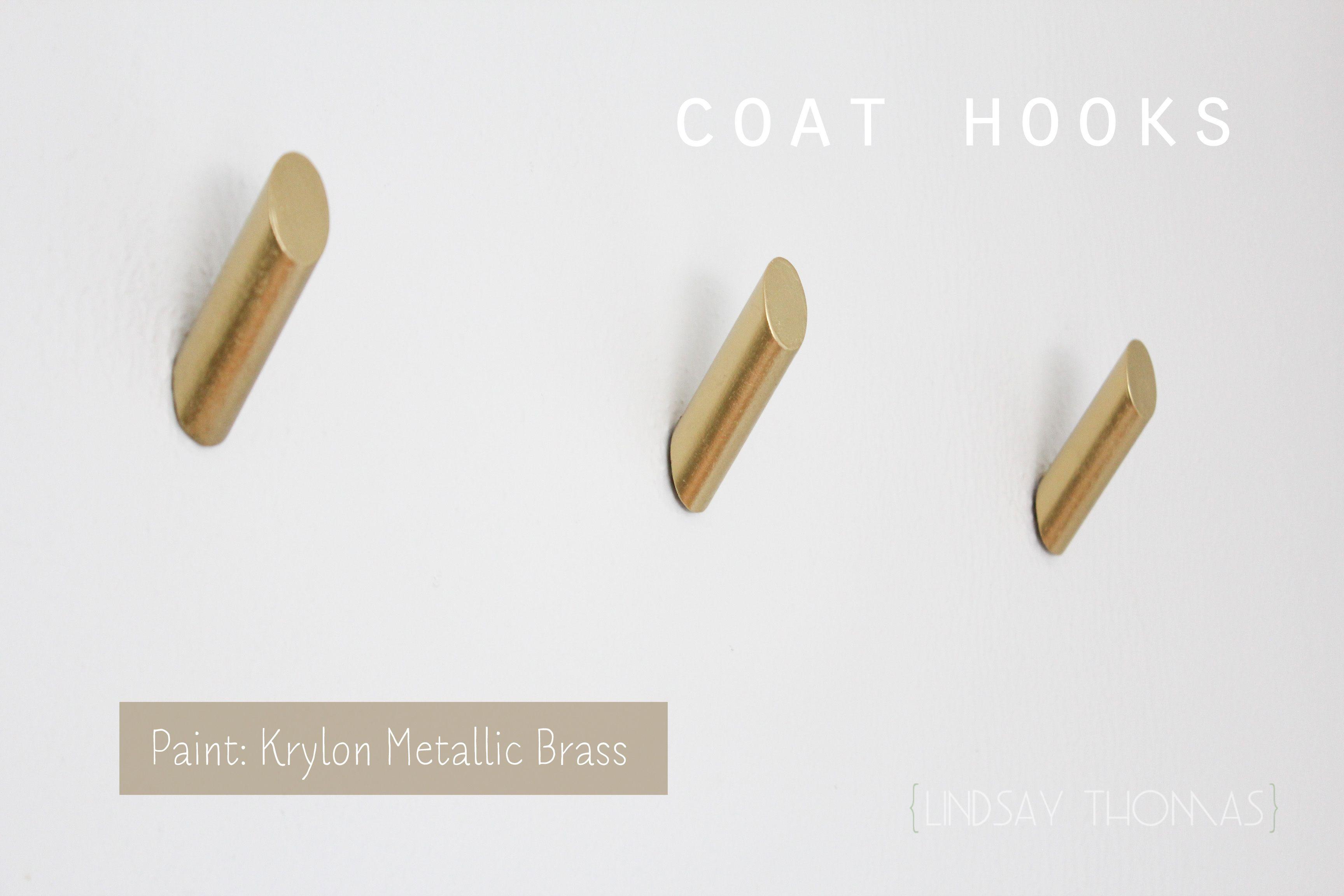 Diy Coat Hooks Made With 1 Inch Dowels And Krylon Metallic Brass Spray Paint Diy Coat Hooks Coat Hooks Diy Coat