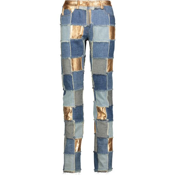 Moschino - Mid-rise Patchwork Metallic Leather-paneled Slim-leg Jeans ($984) ❤ liked on Polyvore featuring jeans, mid denim, patchwork jeans, zipper fly jeans, slim cut jeans, moschino and frayed-hem jeans