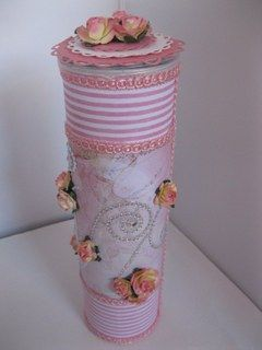 Pink Floral container from the snack tubs we normally just throw away