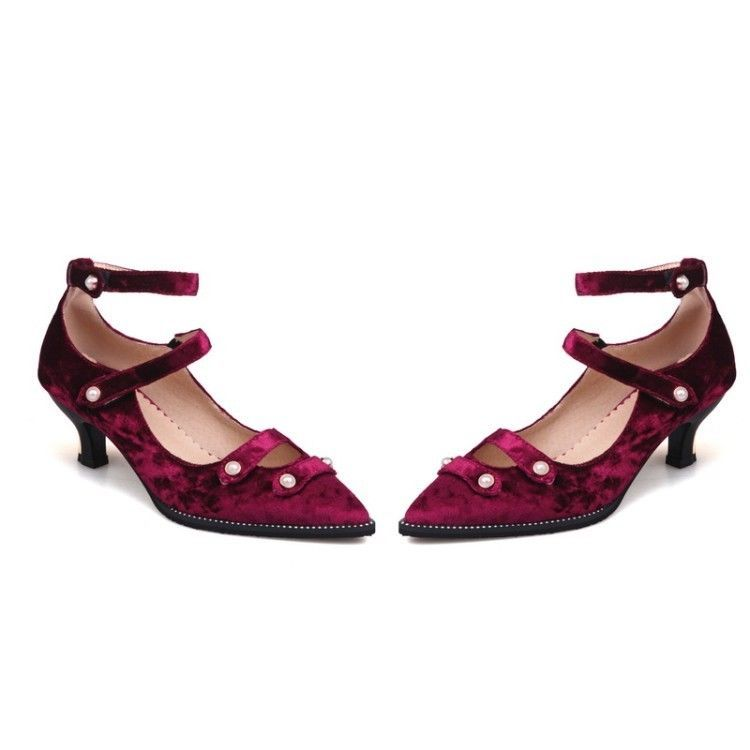 a02f1642548 Womens Pointy Toe Med Kitten Heels Strappy Beads Decor Buckle Mary Janes  Shoes