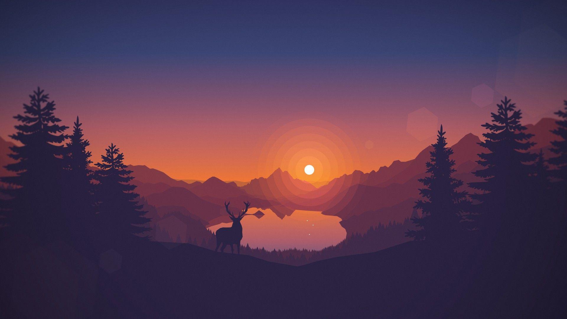 Minimal Sunset Forest Wallpaper Sunset Wallpaper Deer Wallpaper Iphone Wallpaper Hipster
