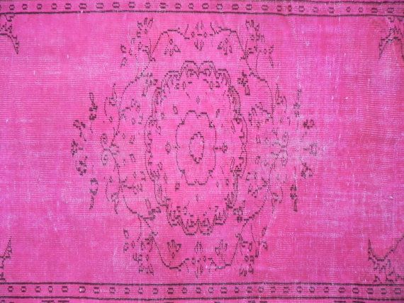 5 3x8 Ft 160x241 Cm Fuchsia Pink Color Overdyed Vintage Turkish Rug Handmade