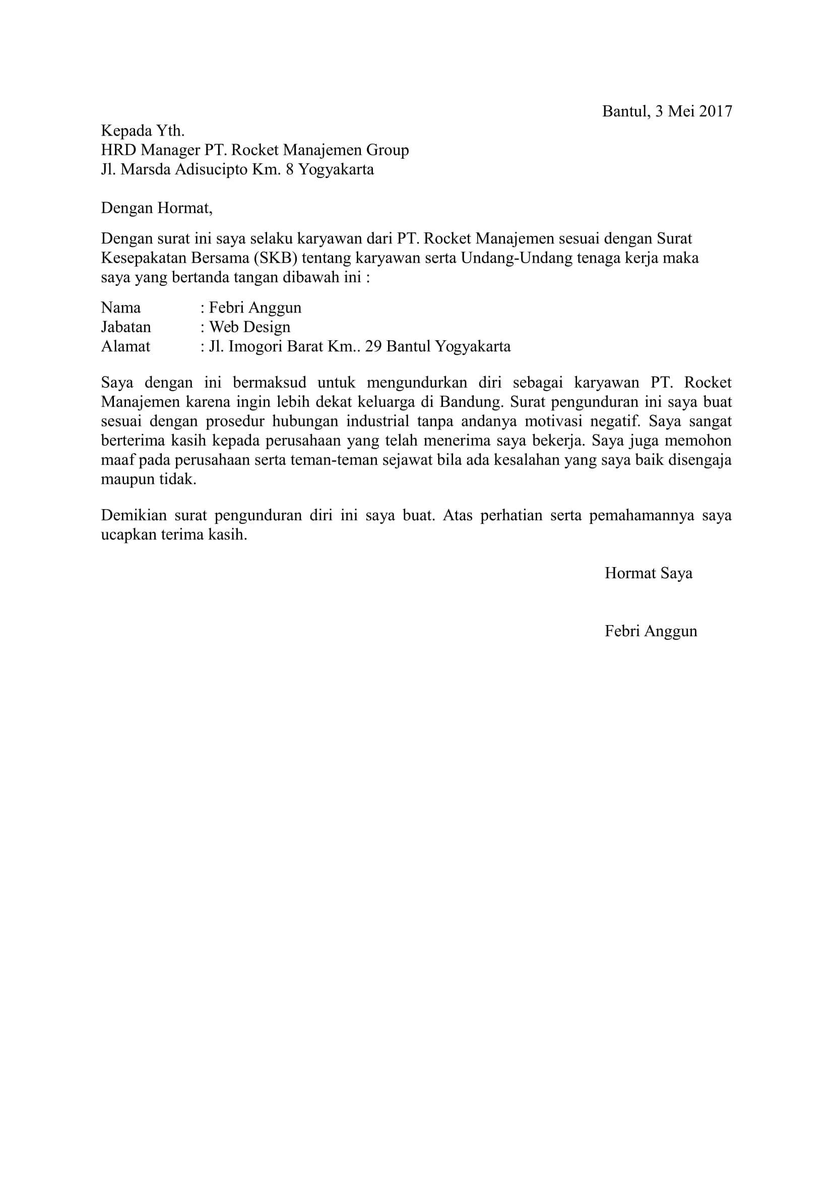 Image Result For Contoh Surat Pengunduran Diri Pdf Lisda Pdf