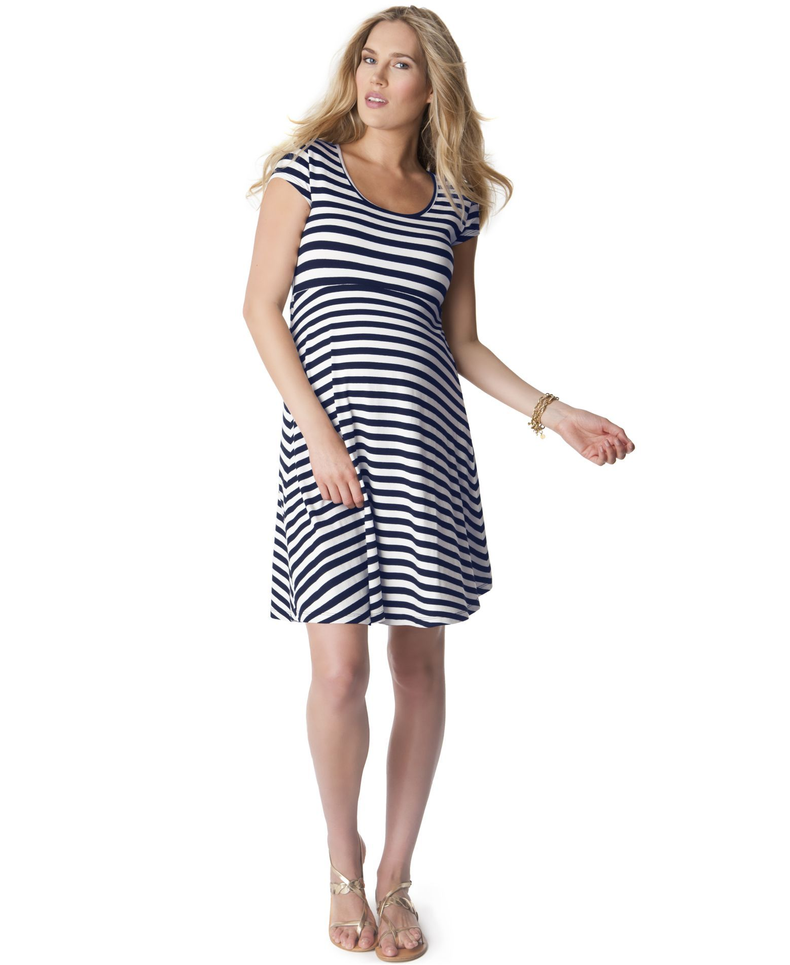 cd5a9cba0306d Seraphine Maternity Striped Cap-Sleeve Dress | Nautical Sewing ...