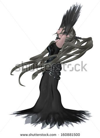 Digitally rendered illustration of a cartoon girl in gothic outfit.