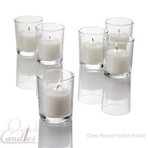 77c898bc99 $149.99 Set of 288 standard clear glass votive holders and 288 white  unscented 10 hour votive candles