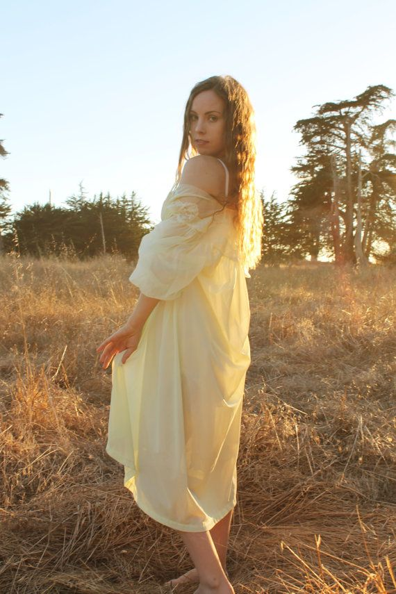 LEMON DROP Vintage 1950's Night Gown Peignoir by silkwormvintage