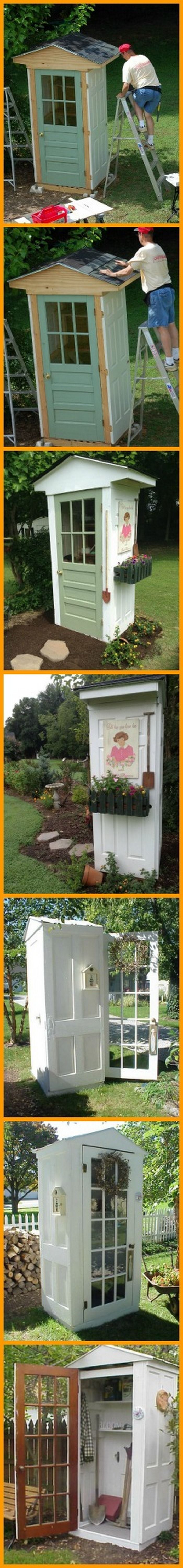 made from old doors this shed will look cute in any backyard do