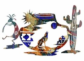 24 Tapestry Of The Southwest Kokopelli And Wolf Metal Wall Art