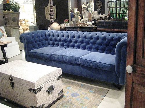 Deep Blue Velvet Tufted Sofa