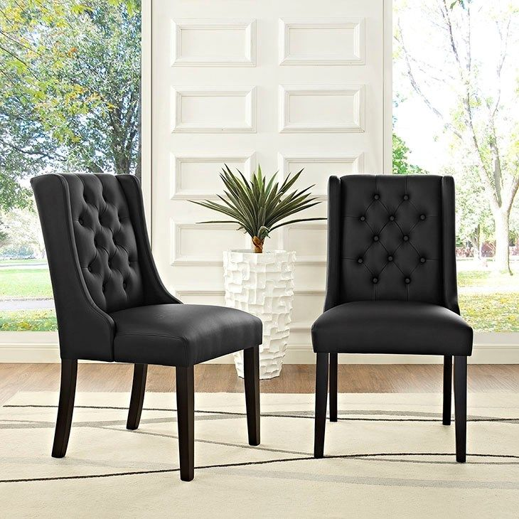 Baronet Vinyl Dining Chair In Black