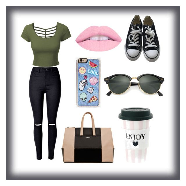 """""""Untitled #7"""" by martacrelvas ❤ liked on Polyvore featuring LE3NO, Converse, Zero Gravity and Ray-Ban"""