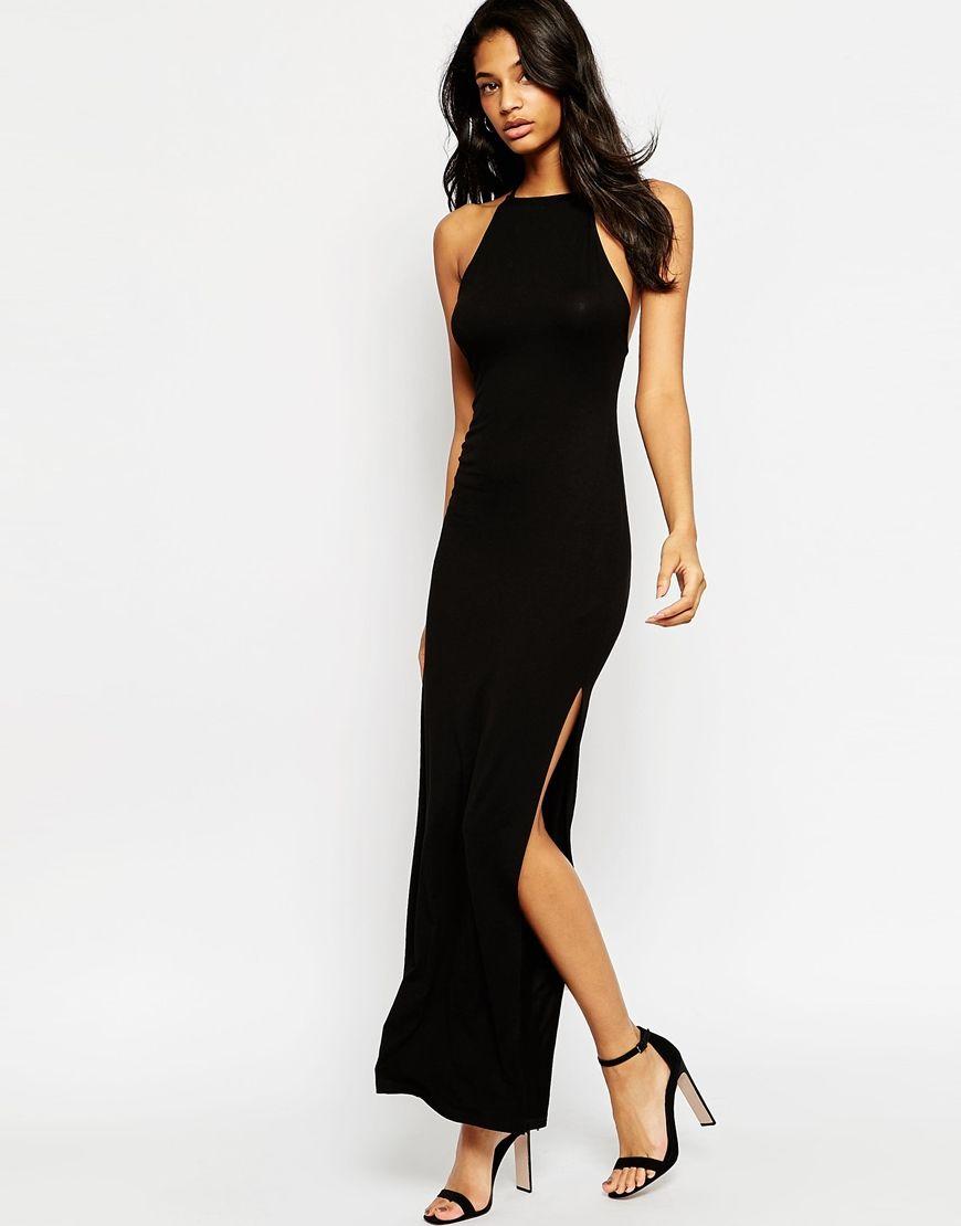Open Back Halter Maxi Dress - Black Asos FMeNrue