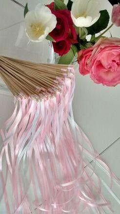 7406071cb2763 Baguette ruban mariage   Baton ruban mariage   décoration originale mariage    baguettes de rubans pour