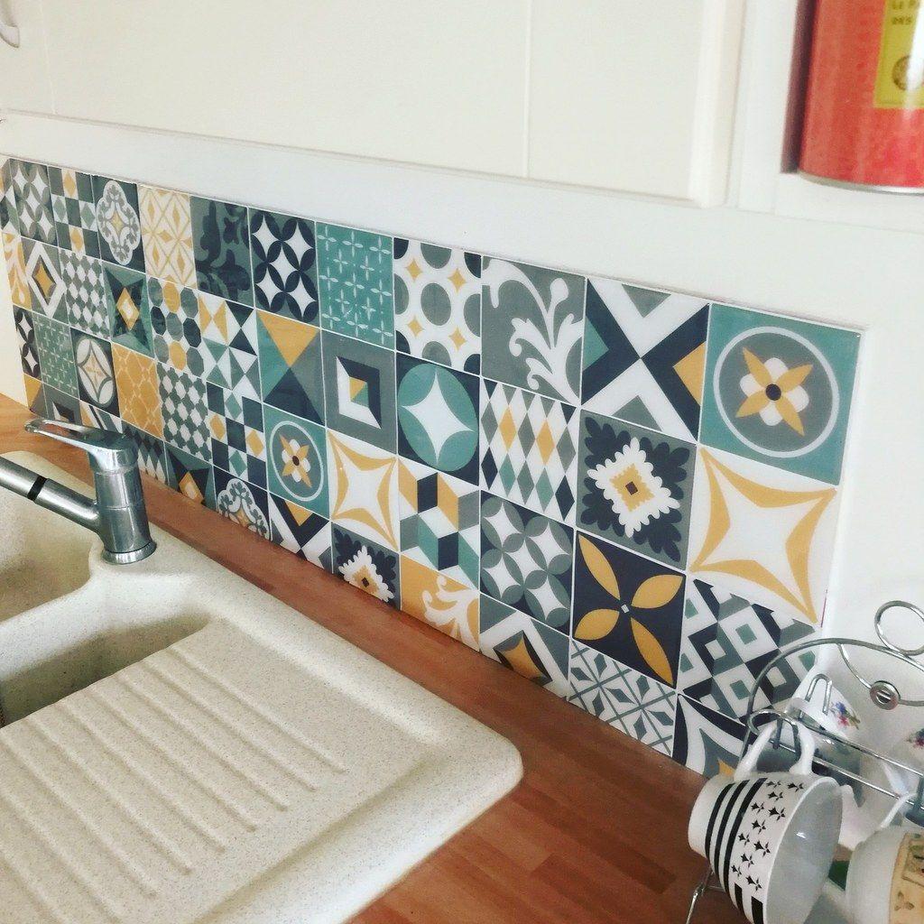 Vintage Azur Carreaux Adhesifs Parement Mural Carrelage Mural