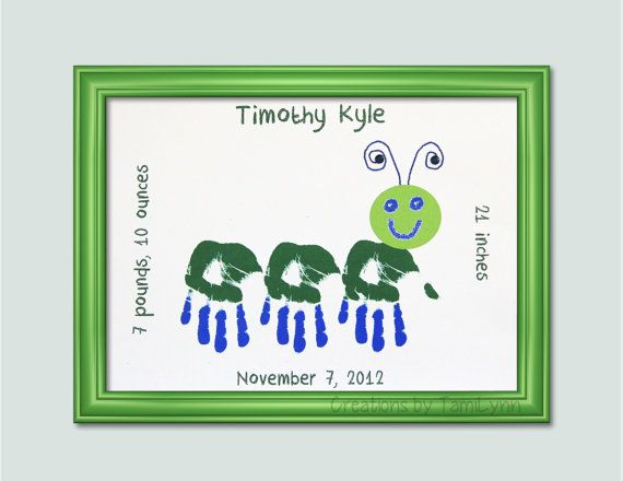 Caterpillar Child Handprint Art  Baby by CreationsbyTamiLynn, $15.00