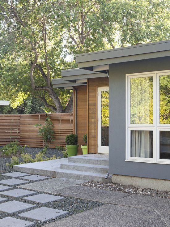 Gray Wood Siding White Window Trim Modern Exterior Midcentury