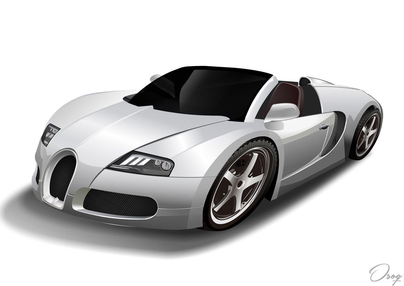 Sports Car Caricature Caricature Sports Car White Suv