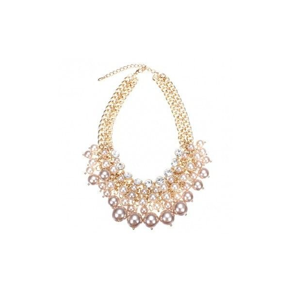 Crystal Multilayer Pearl Bead Collar Necklace ($11) ❤ liked on Polyvore featuring jewelry, necklaces, pink, crystal stone necklace, pink jewelry, multi layer chain necklace, crystal jewelry and layered necklace