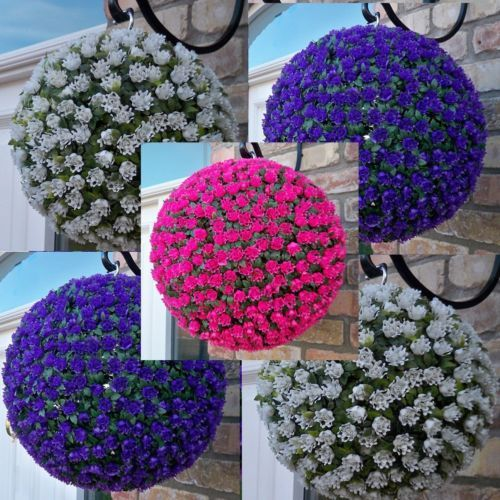 2x Best Artificial Rose Flower Ball Topiary Hanging Basket Plant Uv Fade Pro Artificial Plant Arrangements Artificial Plants Outdoor Artificial Plants Decor