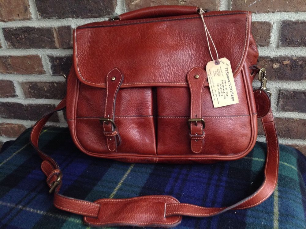 Vintage Levenger Cognac Belting Leather Messenger Bag Briefcase R 548 Messengershoulderbag