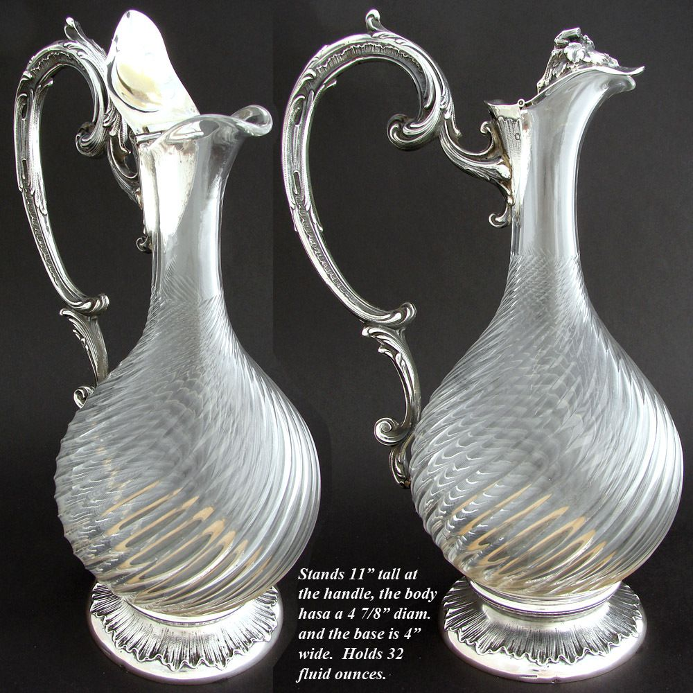 "Elegant Antique French Sterling Silver & Cut Glass 11"" Claret Jug, Rococo Styling & Spiral Cut Body"