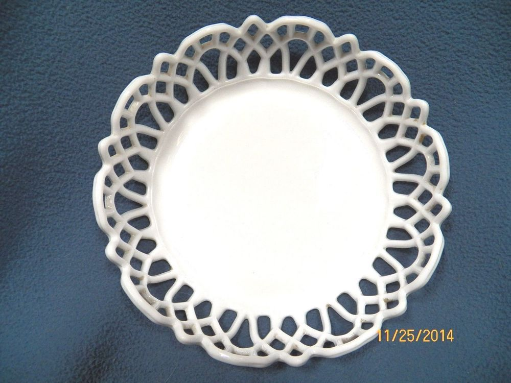 Vintage Milk Glass Reticulated Centerpiece Candy Cookie Fruit Bowl Dish  #Unknown