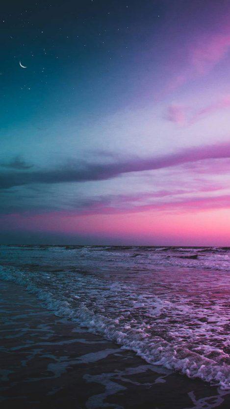 Ocean Beach Twilight Moon Starry Sky Iphone Wallpaper Free Getintopik In 2020 Iphone Wallpaper Sky Iphone Wallpaper Moon Beach Wallpaper Iphone