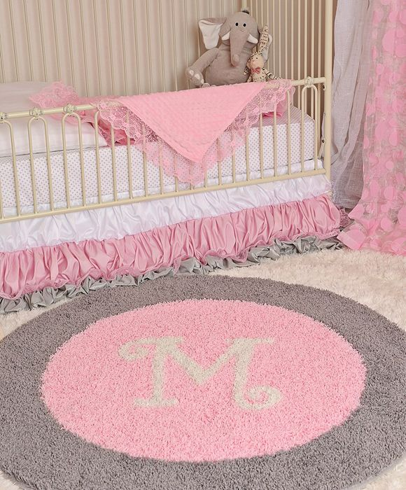 Pink and gray nursery design love the personalized rug for Best carpet for baby nursery
