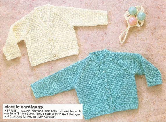 9b2b85d8fc40 Instant Download PDF Vintage DK V and Round Neck Cradigan Knitting ...
