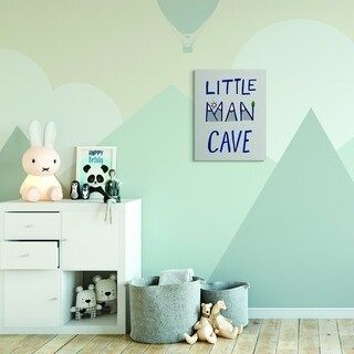 The Kids Room By Stupell Kids Little Man Cave Word Boys Blue Grey Nursery Design 16x20 Proudly Made In Usa Multi Color 24 X 30 Kids Wall Decor Cleaning My Room