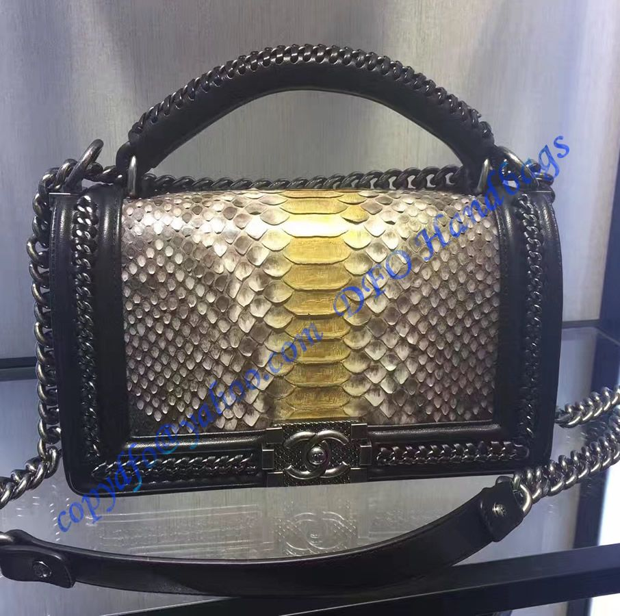 c05b13777389 Boy Chanel Flapbag with handle in Gray Python Leather and Ruthenium Metal  Hardware
