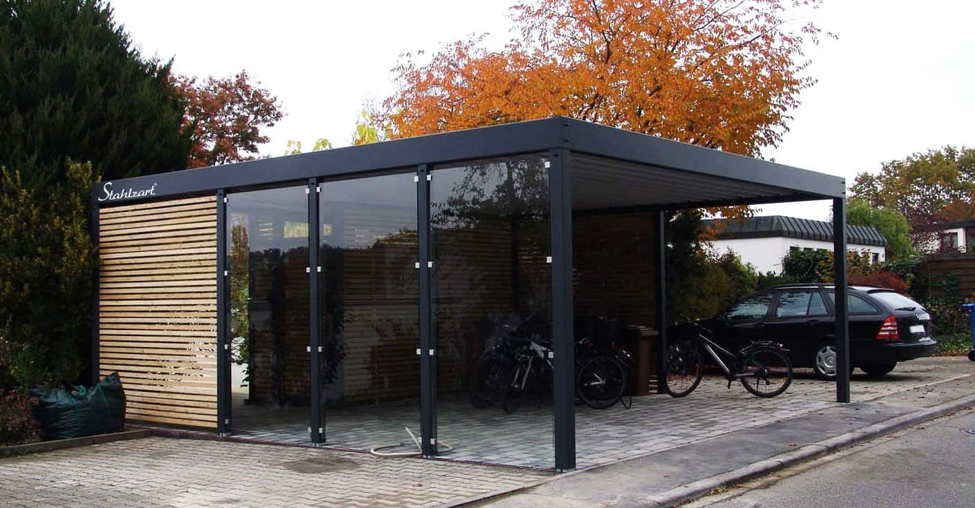 Carport Glas Metall Stahl Holz Bern Mit Abstellraum Stahlzart Carport Metall Moderne Hausfassade Hauswand