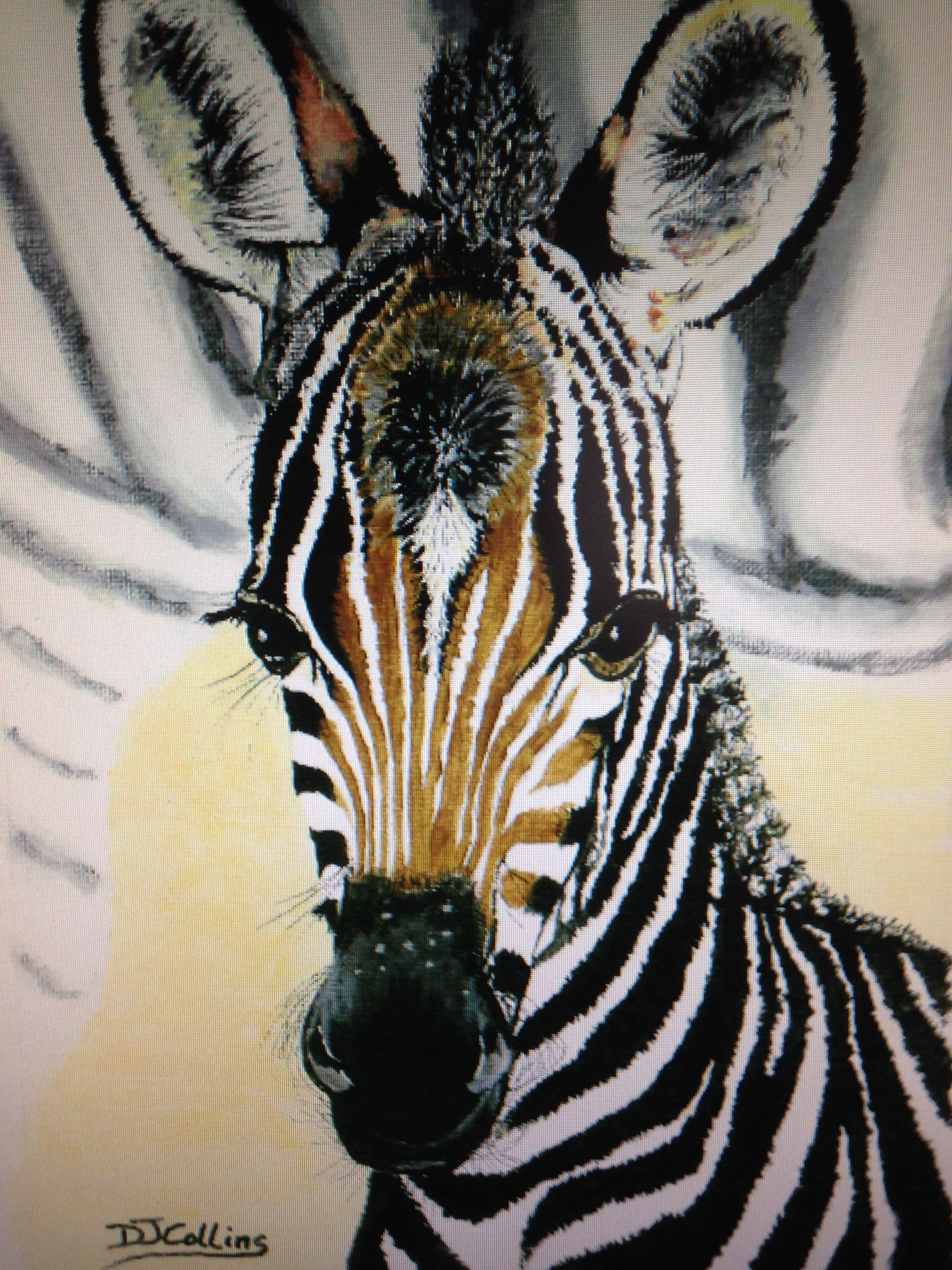 Zebra - Little Zebra. Original painting in acrylics in a 18\