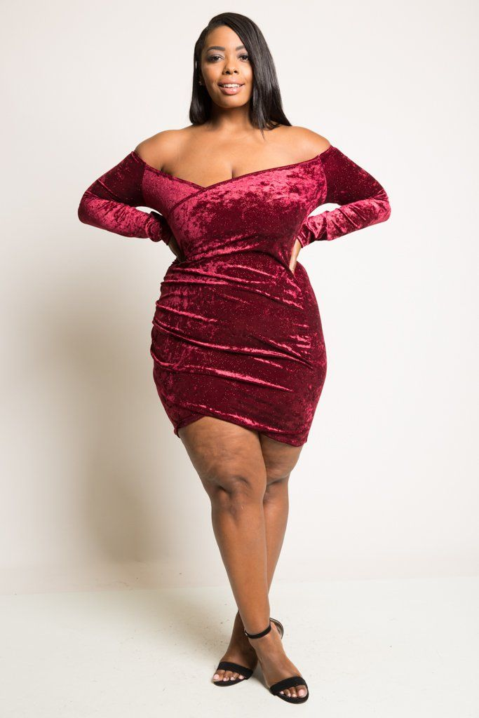 a69d58840c8 Long sleeve off shoulder mini dress Wrap bodycon fit Soft crush velvet  material Made in USA Model is 5 9 wearing 2X