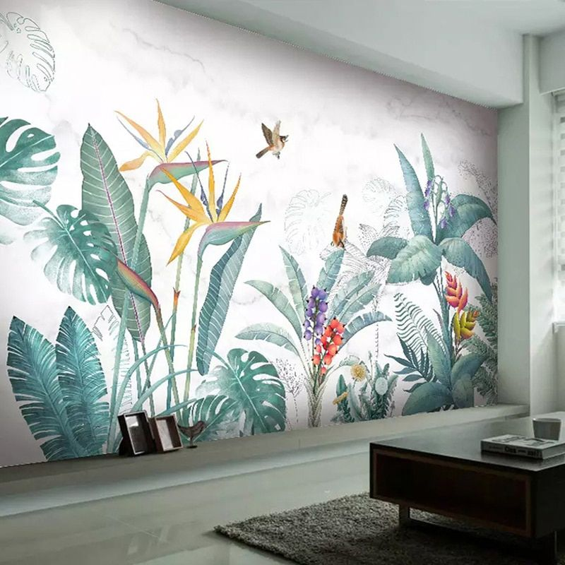 Cheap Wallpapers Buy Directly From China Suppliers Modern Nordic Hand Painted Tropical Plants Flower Bird Leaf Background Wa Mural Mural Dinding Dinding Bunga