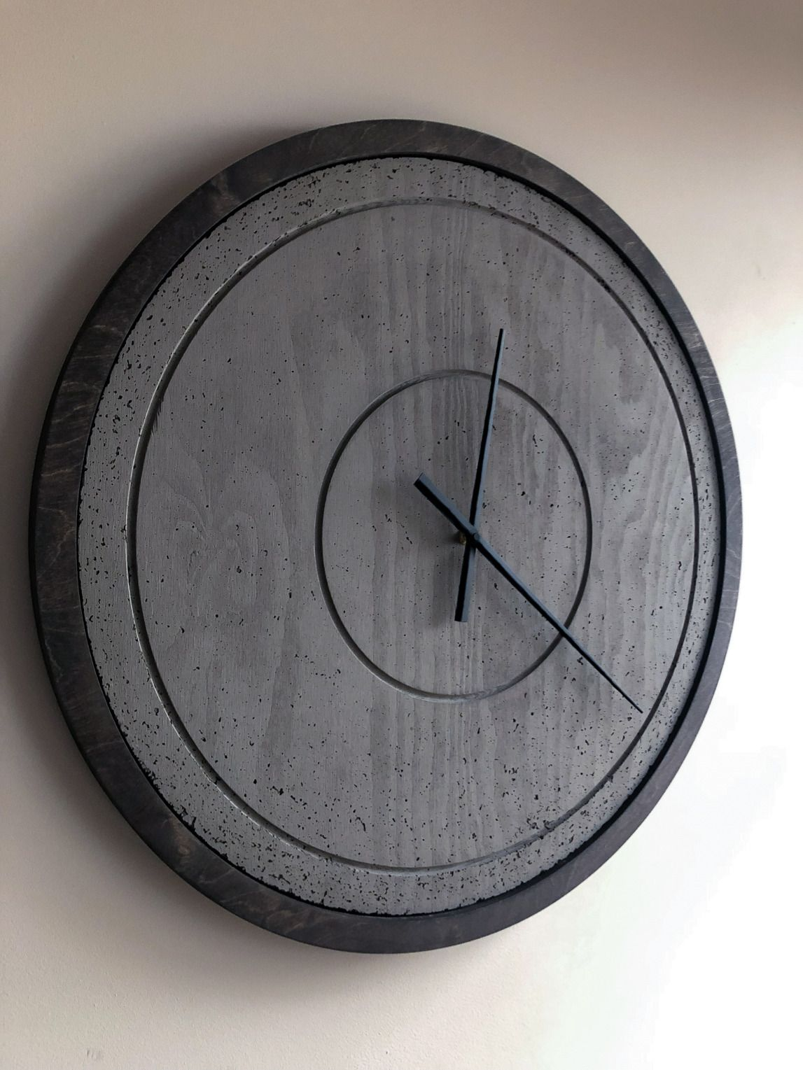 Orbits Concrete Wood Charcoal Grey Wenge In 2020 Unique Wall Clocks Wall Clock Concrete Wood