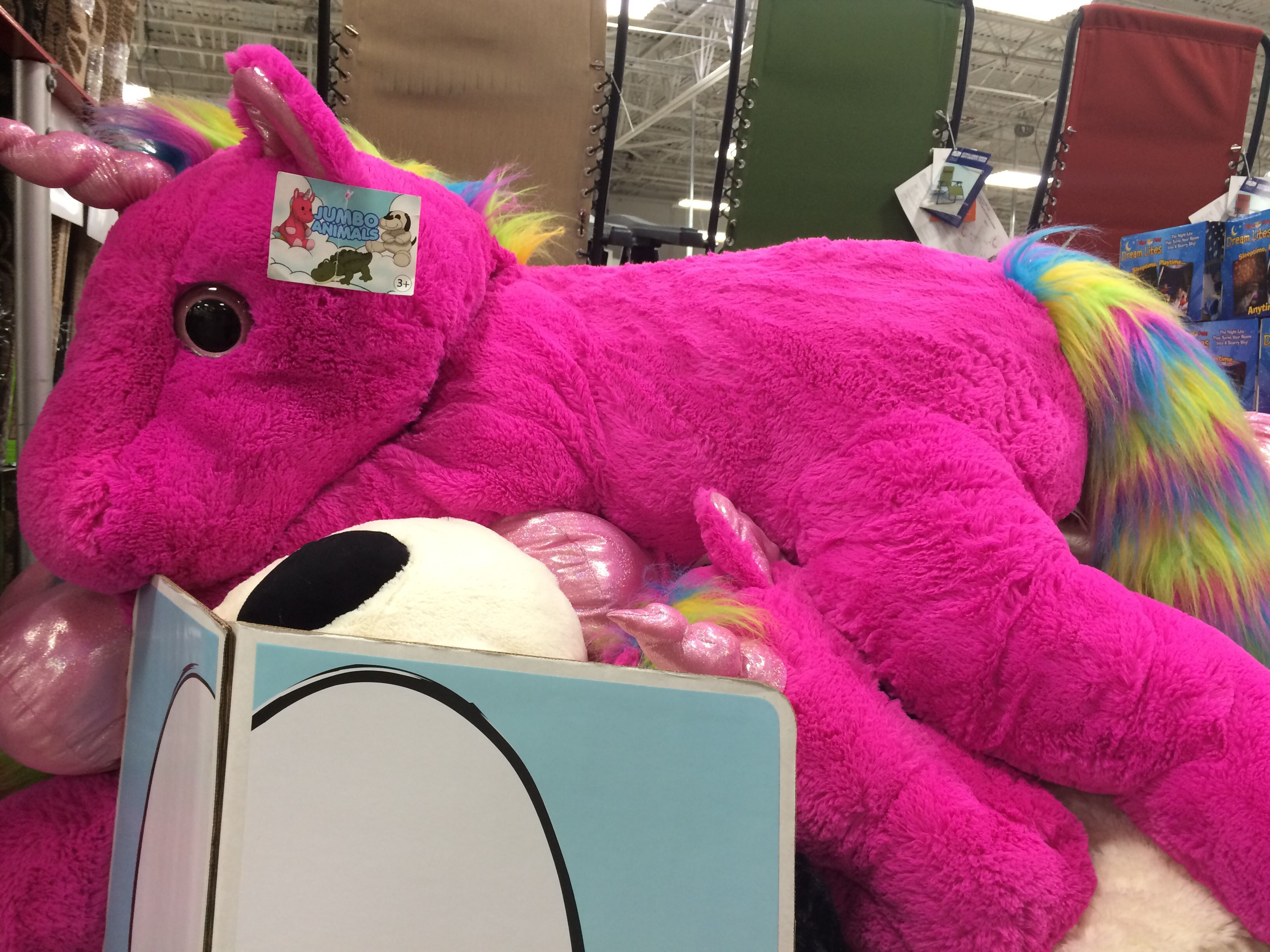 Large Jumbo Pink Unicorn Plush From Sams Club 30 Rhenna Would Have A Heartattack Her Large Unicorn Plush She Uses As A Pil Unicorn Plush Pink Unicorn Plush [ 2448 x 3264 Pixel ]