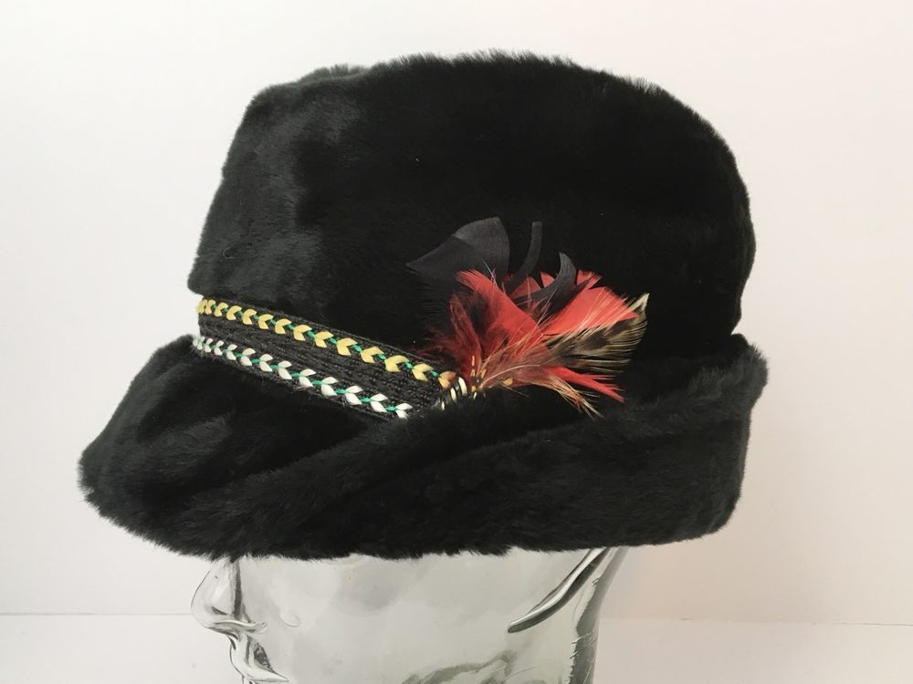 202f72dbc3ec36 Vintage Cossack Winter Faux Fur Black Hat Ear Flaps With Feathers Large USA  #Unbranded #FurFedoraUshankaCossack