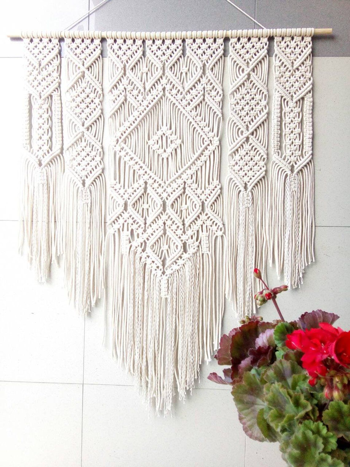 Large Macrame Wall Tapestry Wall Hanging Macrame Wall Art Etsy Macrame Headboard Macrame Wall Art Macrame Wall Hanging Patterns