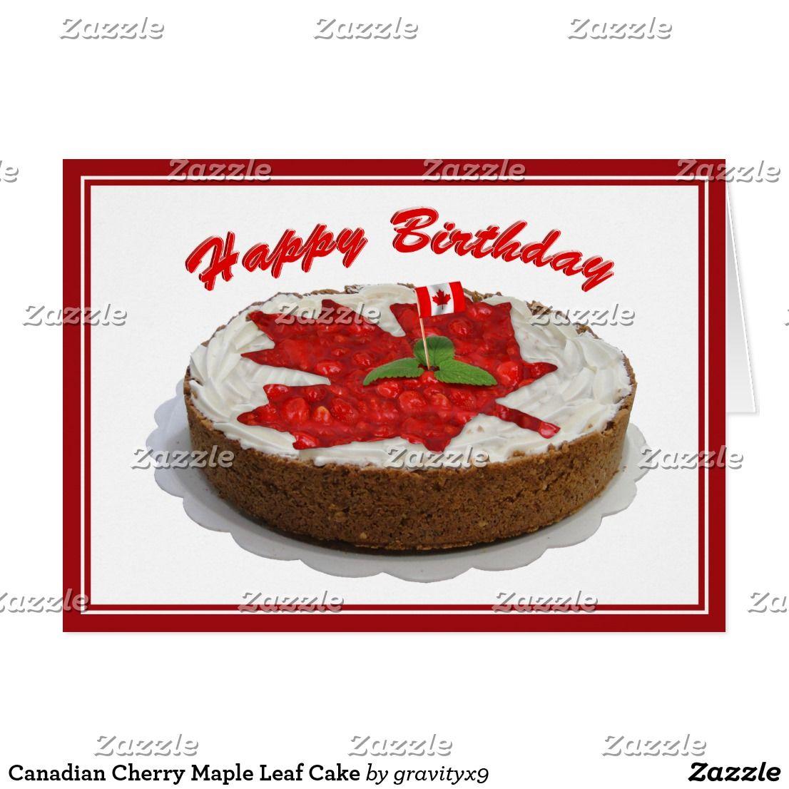Canadian cherry maple leaf birthday cake card