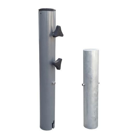In Ground Steel Patio Umbrella Base Fits Up To 2 25 Poles Industrial Grade Patio Umbrella Base Fea Patio Umbrella Stand Patio Umbrella Bases Patio Umbrella