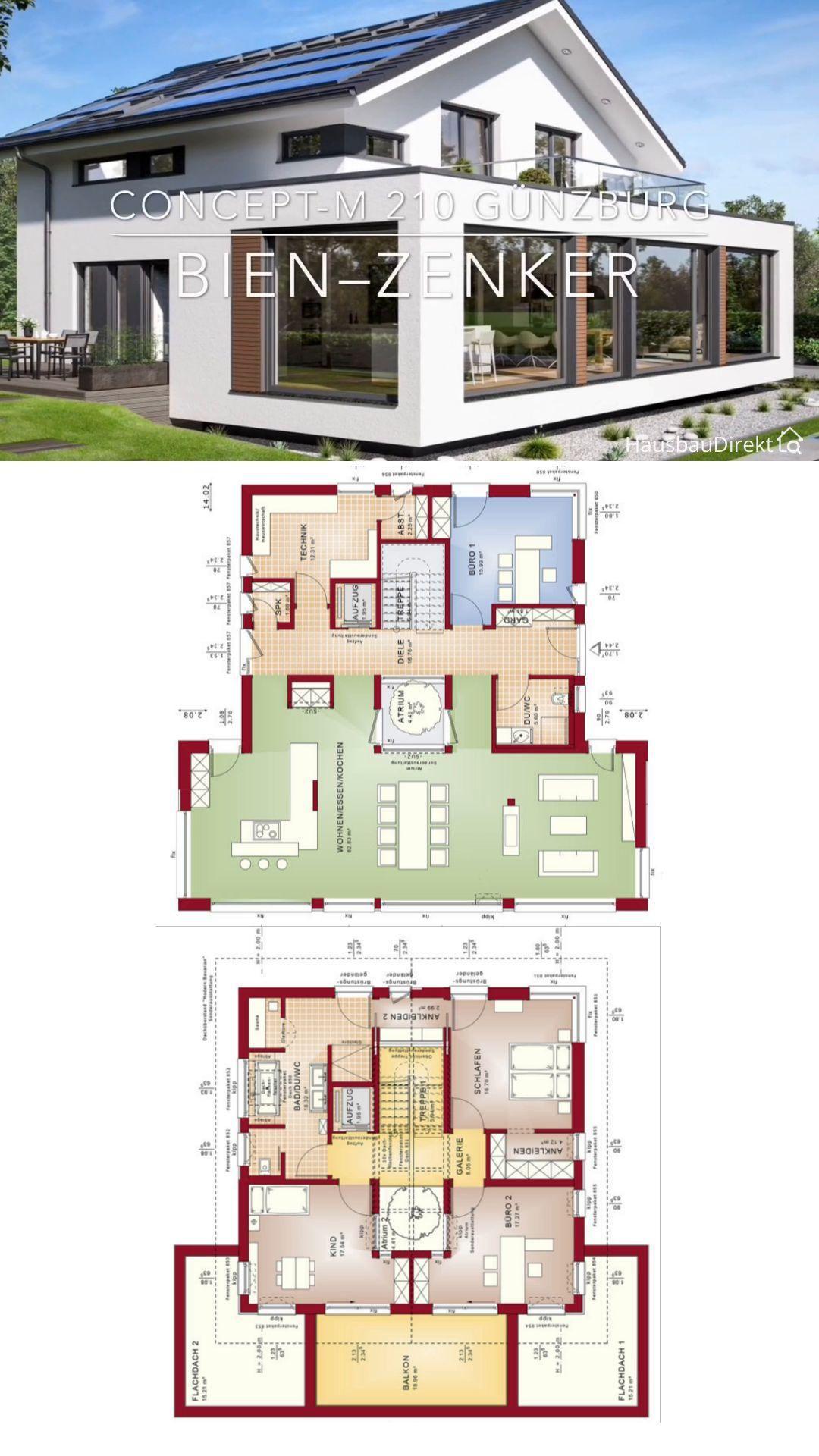 Moderner Einfamilienhaus Grundriss offen mit Patio, Satteldach & XL Erker bauen - Fertighaus 250 qm