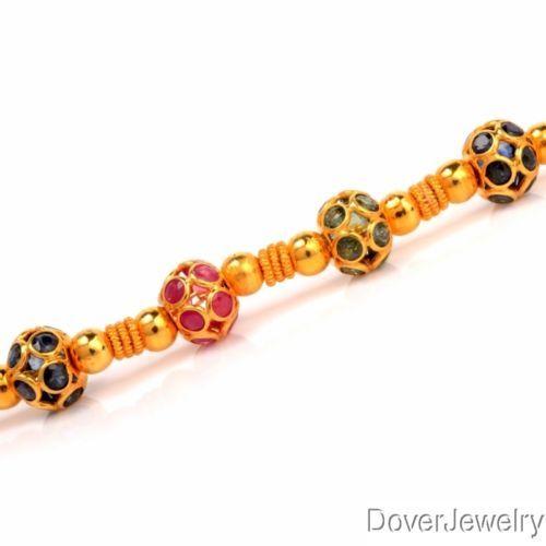 Estate 3.27ct Multi-Gem 18K Yellow Gold Beads Bracelet 7.8 Grams NR https://t.co/4J53SZaQSh https://t.co/NqfZ1vYmRG