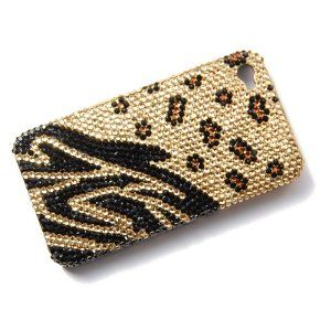 Cheetah Spots Tiger Stripe iPhone 4S 4 Case Cover Dual Swarovski Crystal Element